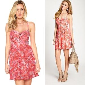 Guess Pink Orange Floral Lace Fit And Flare Dress